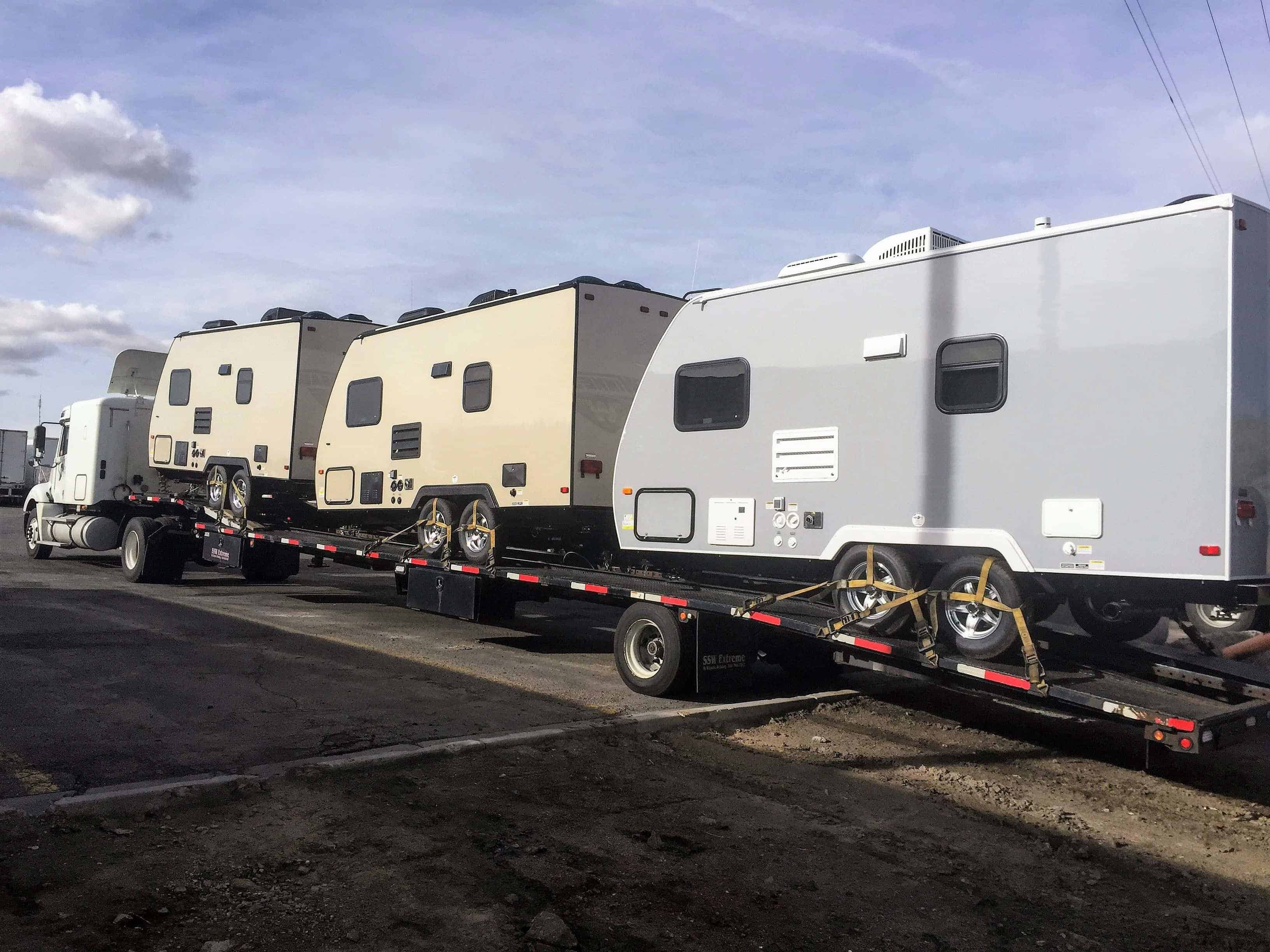 Travel Trailers Loaded for Transport